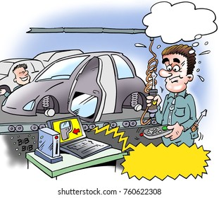 Cartoon illustration of a car installer who has mounted the car door in anticipation
