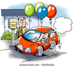Cartoon illustration of a car owner trying to cheat with the total weight of the vehicle road tax