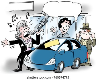 Cartoon illustration of a car salesman who sings into an auto exhaust