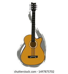 cartoon illustration of a classic color acoustic guitar icon with abstract background.