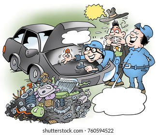 Cartoon illustration of a an clever autistic mechanic who has played the whole engine apart