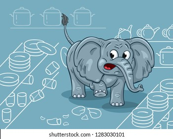 Cartoon illustration of a clumsy elephant in a china shop