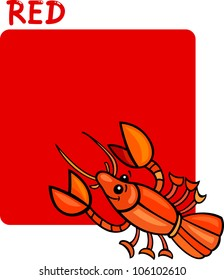 Cartoon Illustration of Color Red and Crayfish