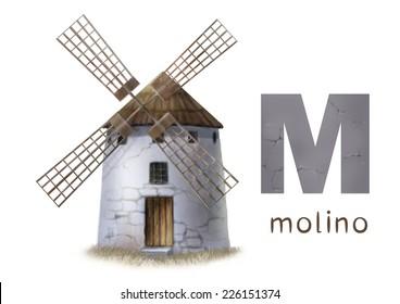 Cartoon Illustration of Colorful Spanish Alphabet or Alfabeto Espanol. Isolated on white. Letter M, molino, windmill