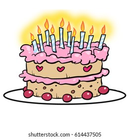 Cartoon illustration of a colorful cartoon vanilla victoria sponge cake with pink strawberry rasberry frosting and ten 10 Happy Birthday candles