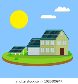 Cartoon illustration - the concept of ecology. building with solar panels. obtaining electricity from the sun. energy future. the building of the suburbs. modern home.