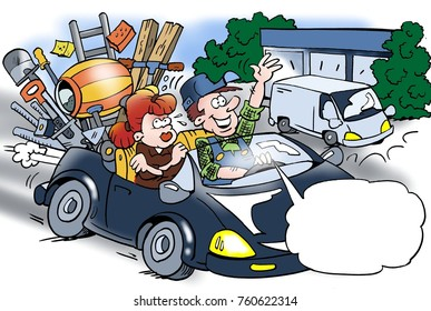 Cartoon illustration of a craftsman who has sold his van, his wife annoys