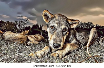 Cartoon illustration of a cute dog with  sad sweet eyes, affective dog portrait