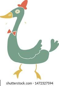 cartoon illustration of cute retro duck wears red hat
