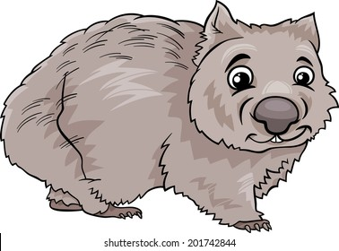 Cartoon Illustration of Cute Wombat Marsupial Animal