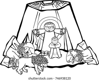 Cartoon illustration of Daniel in the lions den, being delivered by an angel from the mouths of the beasts. This is the black and white version for coloring projects.