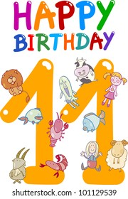 cartoon illustration design for eleventh birthday anniversary