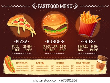 cartoon illustration of a design fast food restaurant menu. Cartoon creative template, flyer, brochure.