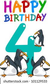 cartoon illustration design for fourth birthday anniversary