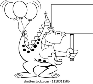 Black White Illustration Boy Holding Balloons Stock Vector Royalty