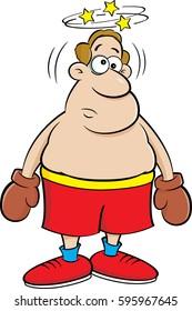Cartoon illustration of a dizzy boxer.