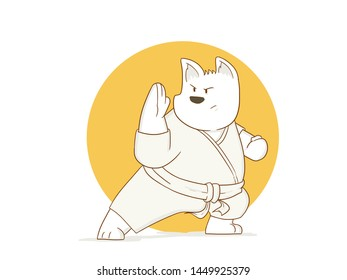 cartoon illustration of dog karate defending position with a white background