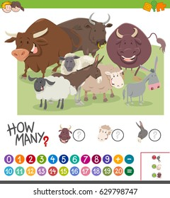 Cartoon Illustration of Educational Mathematical Activity Game of Counting Farm Animal Characters for Kids