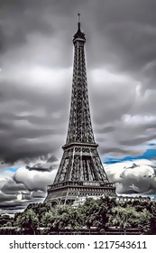 Cartoon illustration of Eiffel Tower in Paris with cloudy sky, France