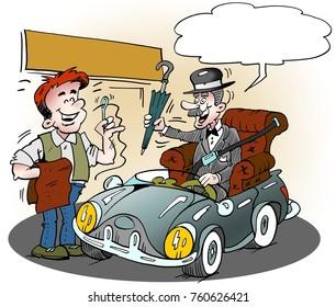Cartoon illustration of an elderly glenteman who has got his favorite armchair in his car