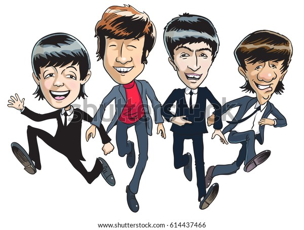 Cartoon illustration of the fab four, running away from fans in the 1960s