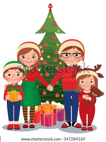cartoon illustration of a family at the christmas tree with gifts isolated on white background