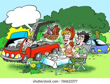 Cartoon illustration of a family forest trip where the lunch is delivered by a service car