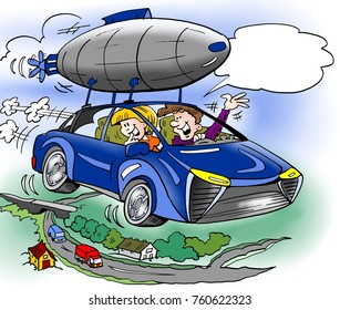 Cartoon illustration of a family has has bought extra equipment for their brand new hybrid car