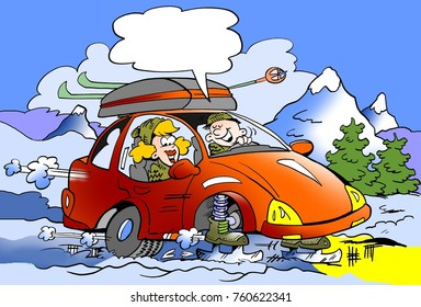 Cartoon illustration of a Family on ski trip with brand new skates mounted instead of wheels