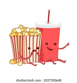 Cartoon illustration. fast food. Friends forever. Popcorn, cola, movies, cinema. Comic characters.