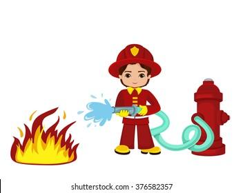 Cartoon illustration of a firefighter boy.Raster copy.