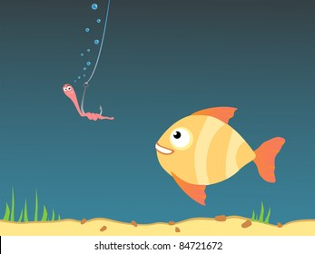 Cartoon illustration of a fish and a worm on a fishing hook. Raster illustration.