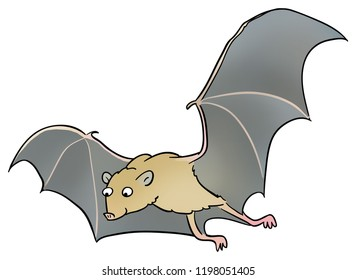 A cartoon illustration of a flying bat.