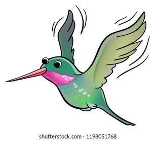Cartoon illustration of a flying Hummingbird.