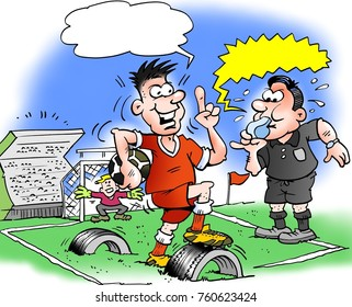 Cartoon illustration of a a football player and a football pitch where the base is made of old rubber tire residues