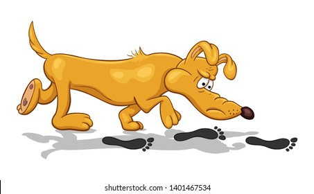 Cartoon illustration of a funny bloodhound dog with fixed look searching footprints