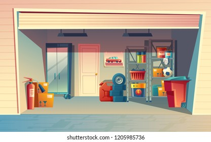 cartoon illustration of garage interior, storage room with auto equipment, tires, jerrican, metal racks, tools, boxes, stuff. Private building for car with furniture and inventory inside