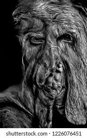 Cartoon illustration and graphic creation of ugly monster, nightmare scary black and white disfigured male portrait