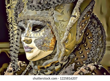 Cartoon illustration and graphic design of beautiful woman wearing mask during Venice Carnival in Italy, beauty symbol, fantasy woman