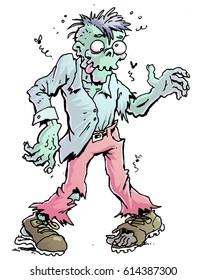 Cartoon illustration of a halloween zombie