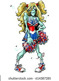 Cartoon illustration of a halloween zombie cheerleader with red, white and blue pom poms