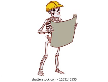 Cartoon illustration of Happy Skeleton as Engineer Wearing Safety Helmet and Holding Maps