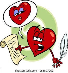 Cartoon Illustration of Heart Poet Character reading a Love Poem on Valentine Day