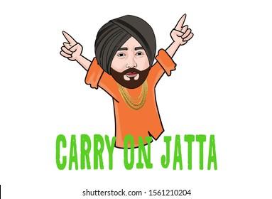 Cartoon illustration of Indian Punjabi man. Lettering text carry on jatta Hindi translation- carry on man. Isolated on white background.