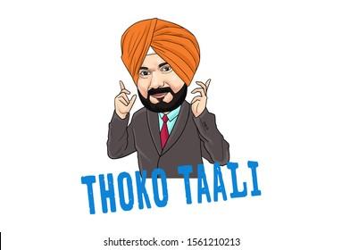 Cartoon illustration of Indian Punjabi man. Lettering text thoko taali Hindi translation- do clapping. Isolated on white background.