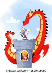 Cartoon illustration of knight saving princess from dragon. Raster