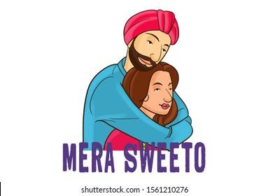 Cartoon illustration of lovely couple. Lettering text mera sweeto Hindi translation- my sweetheart. Isolated on white background.