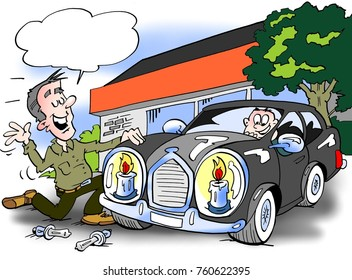 Cartoon illustration of A luxury car there has been fitted with new-saving headlight bulbs