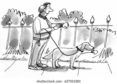 Cartoon illustration of a man getting ready to walk his dog, they are both synchronizing their watches.