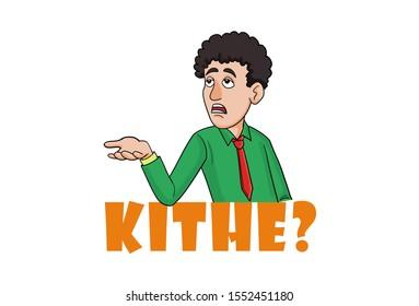 Cartoon illustration of man. Lettering text kithe. Hindi translation where going? Isolated on white background.